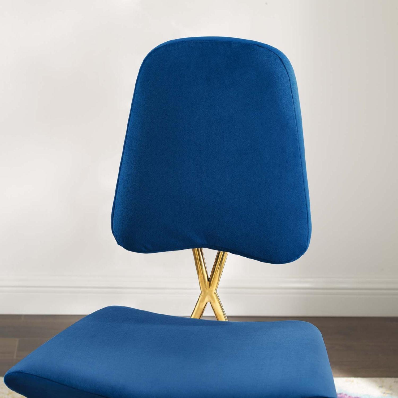 Counter Stool In Navy Velvet Upholstery - image-5
