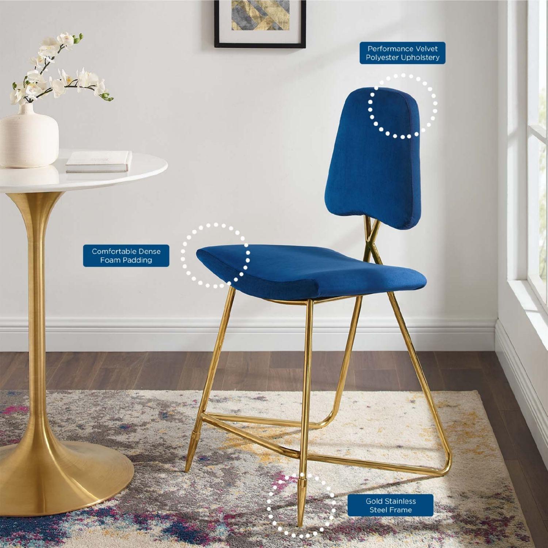 Counter Stool In Navy Velvet Upholstery - image-7