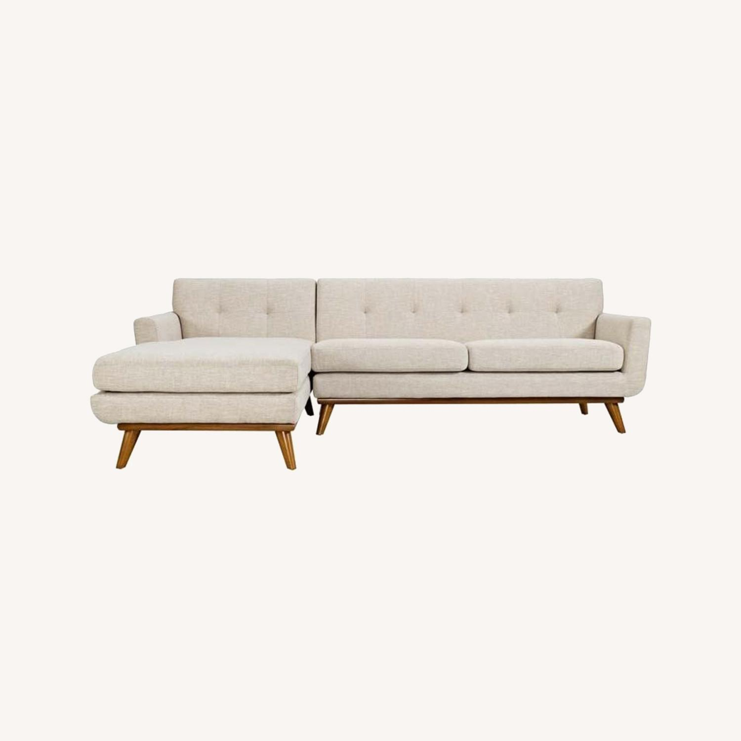 Left-Facing Sectional In Beige Upholstered Finish - image-4