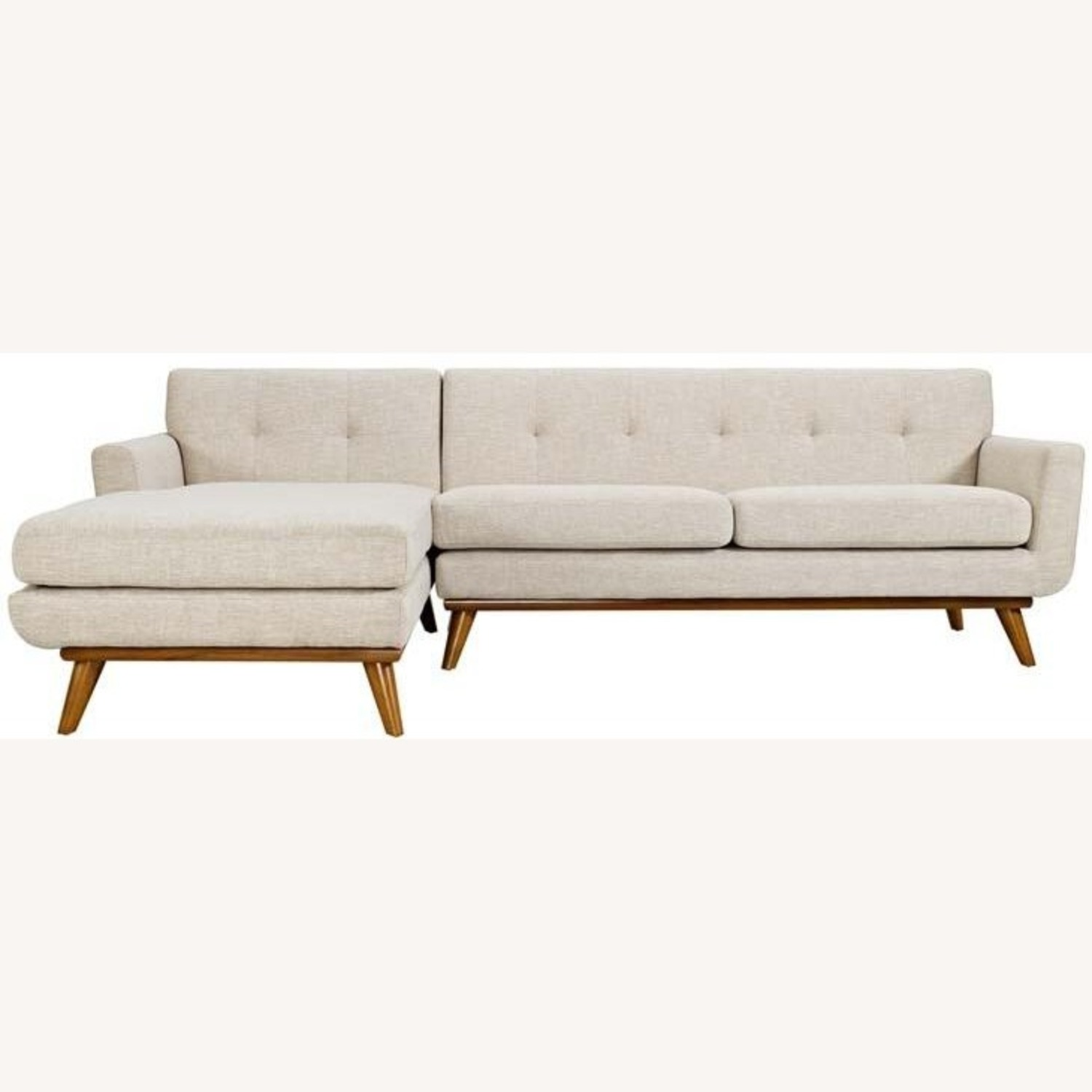 Left-Facing Sectional In Beige Upholstered Finish - image-2