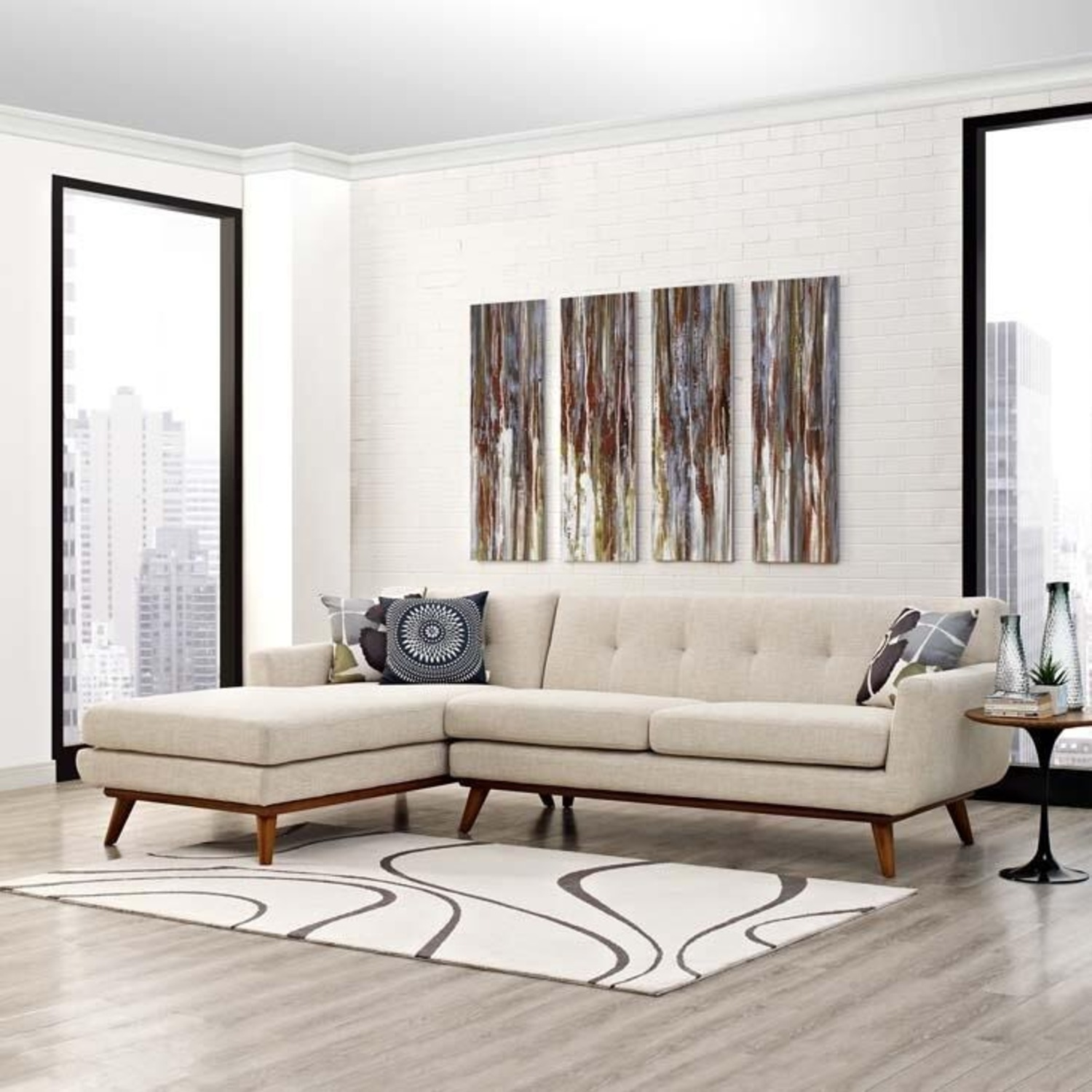 Left-Facing Sectional In Beige Upholstered Finish - image-3