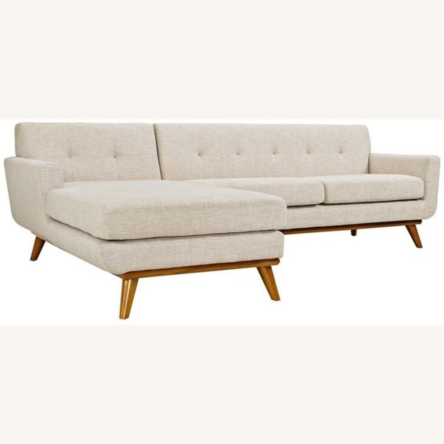 Left-Facing Sectional In Beige Upholstered Finish - image-0