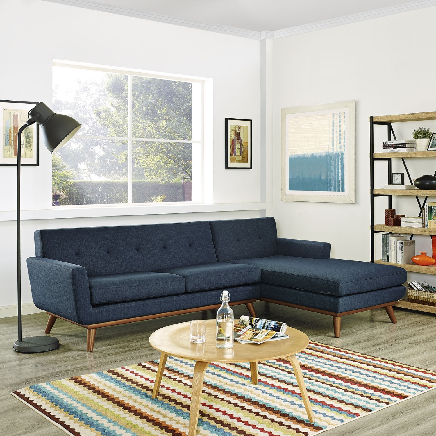 Right-Facing Sectional In Azure Upholstered Fabric - image-5