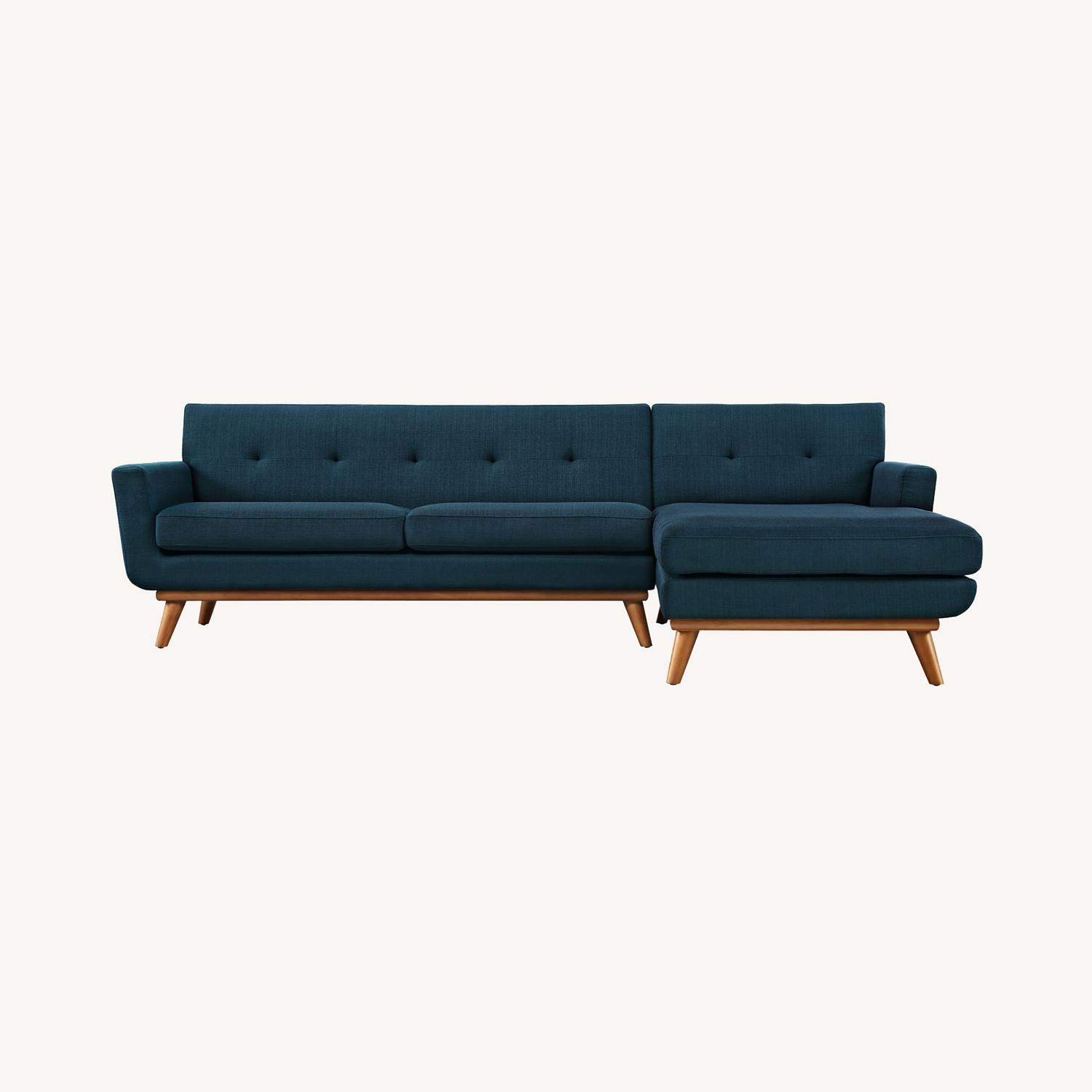 Right-Facing Sectional In Azure Upholstered Fabric - image-6