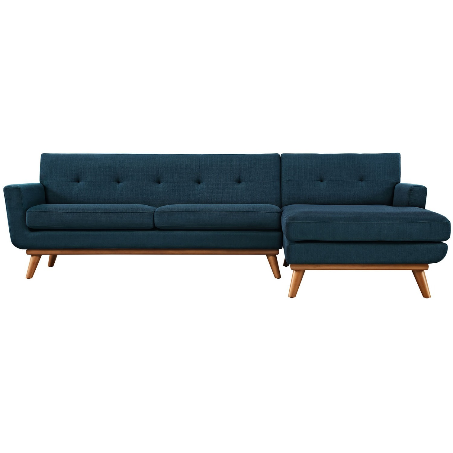 Right-Facing Sectional In Azure Upholstered Fabric - image-1