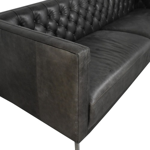 Used CB2 Seville Tufted Leather Couch for sale on AptDeco