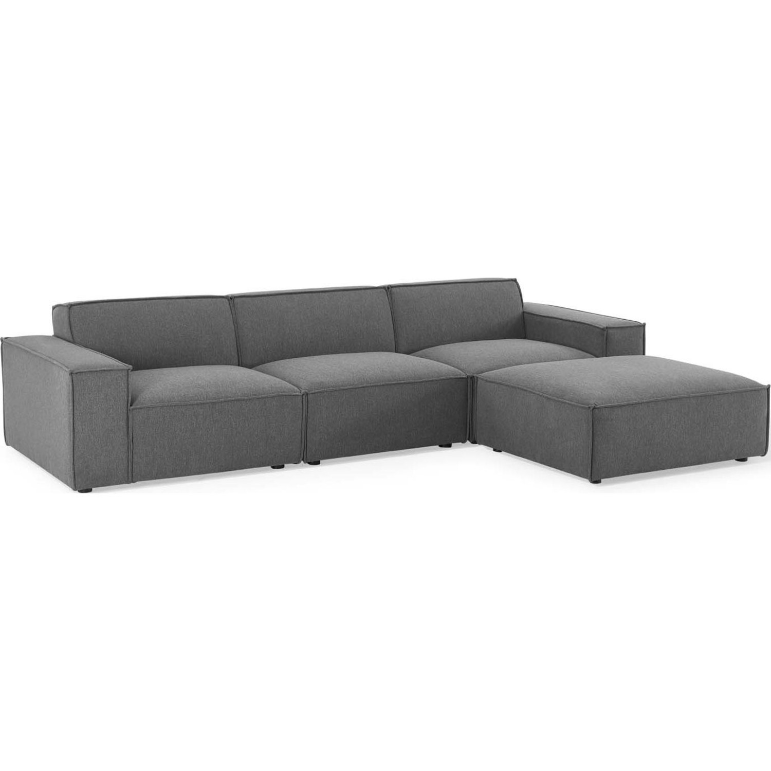 4-Piece Sectional Sofa In Charcoal Fabric - image-0