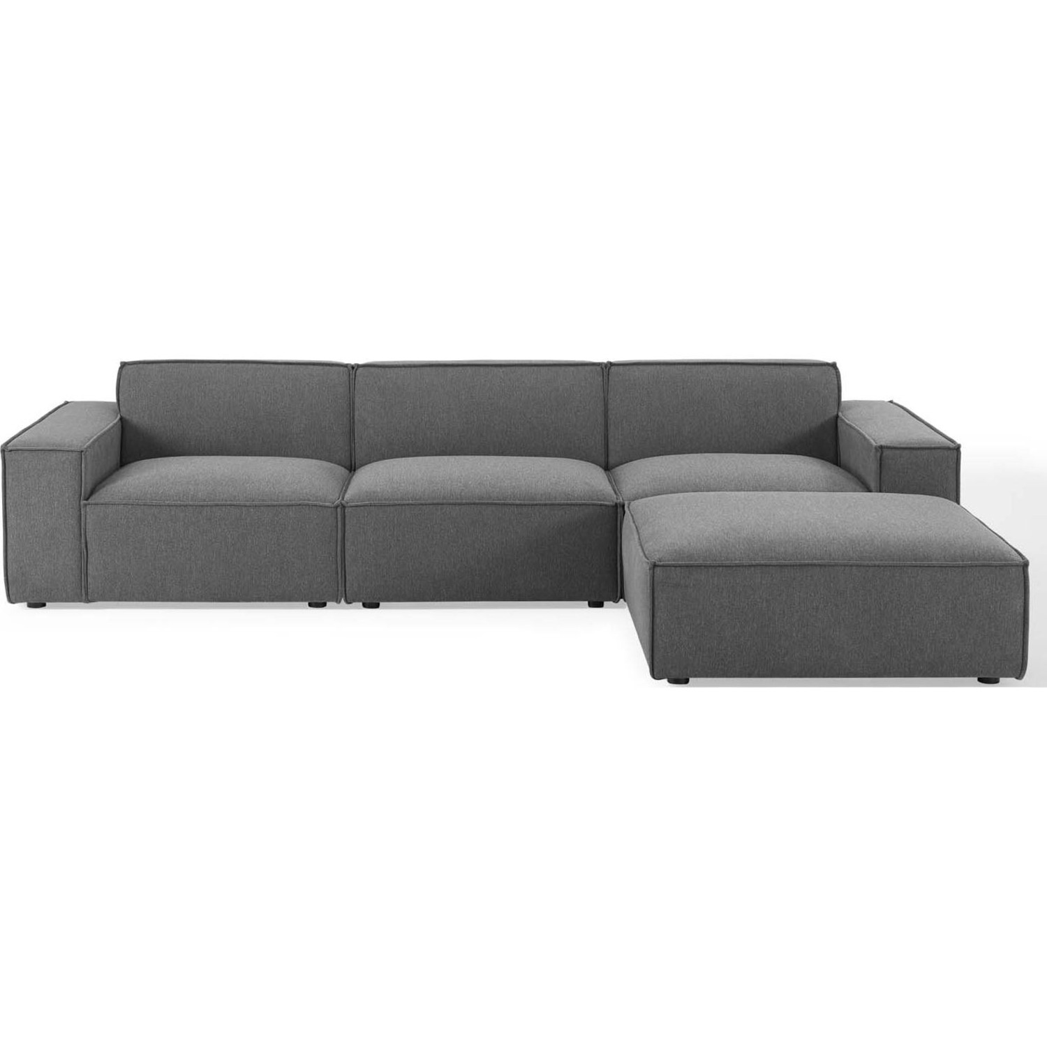 4-Piece Sectional Sofa In Charcoal Fabric - image-1