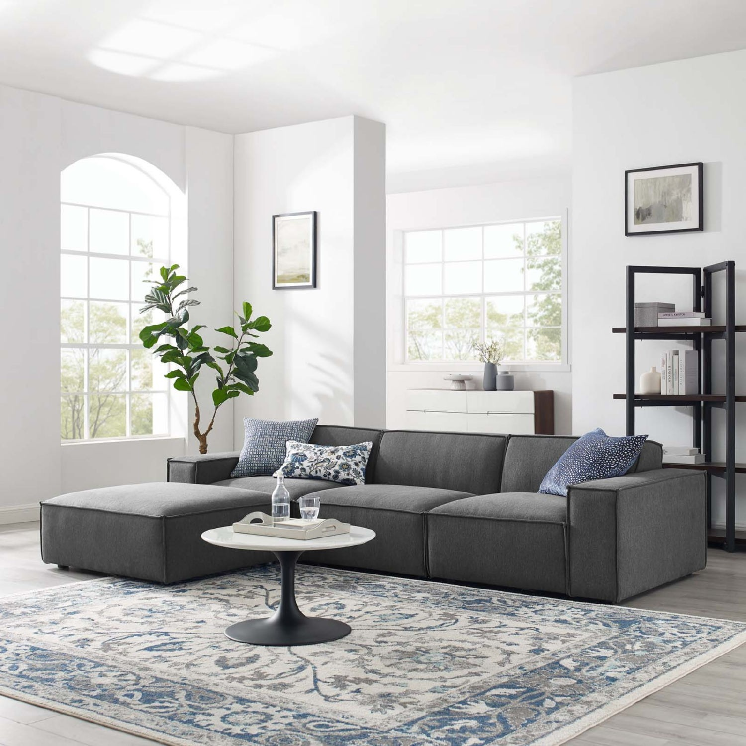 4-Piece Sectional Sofa In Charcoal Fabric - image-10