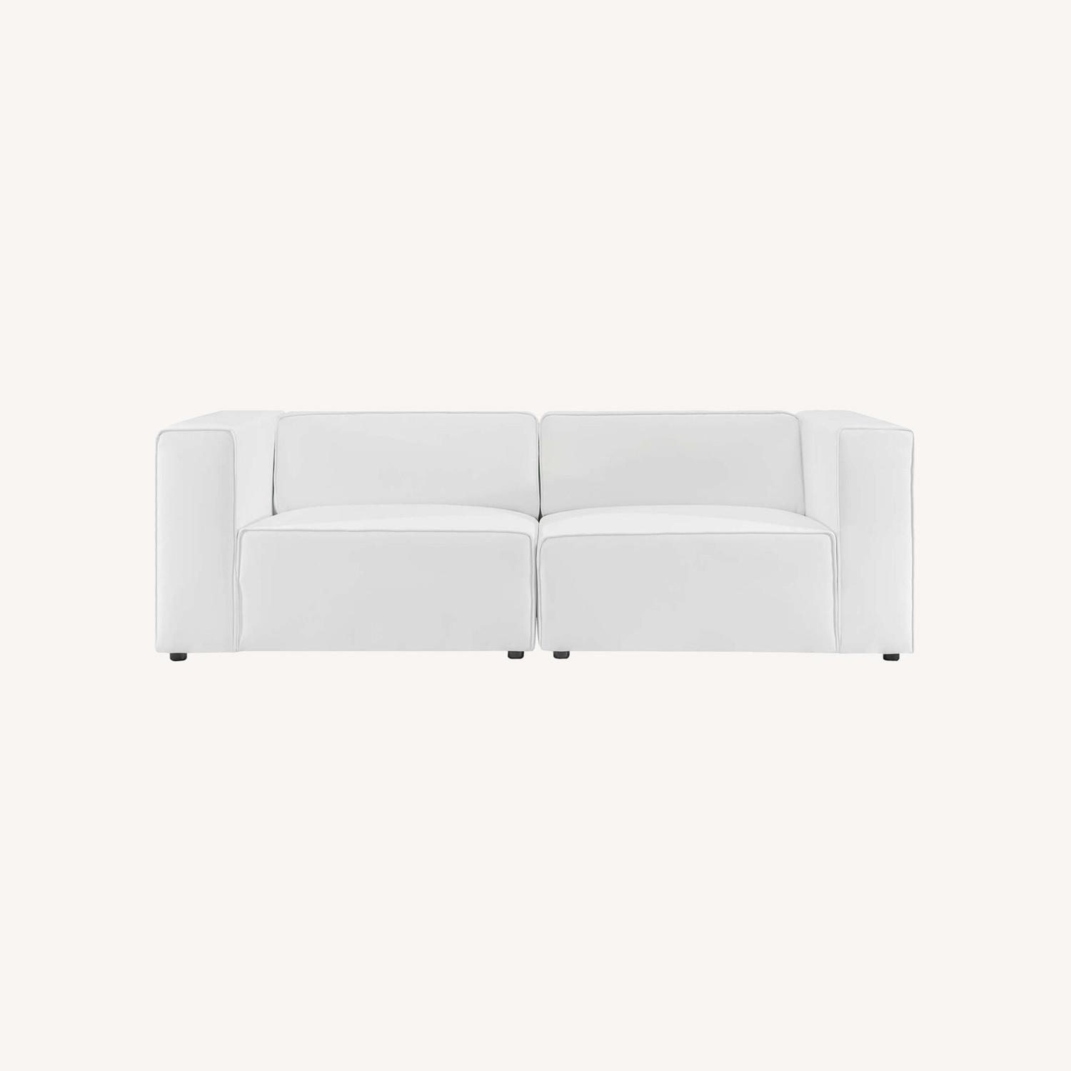 2-Piece Sectional Sofa In White Leather Finish - image-9