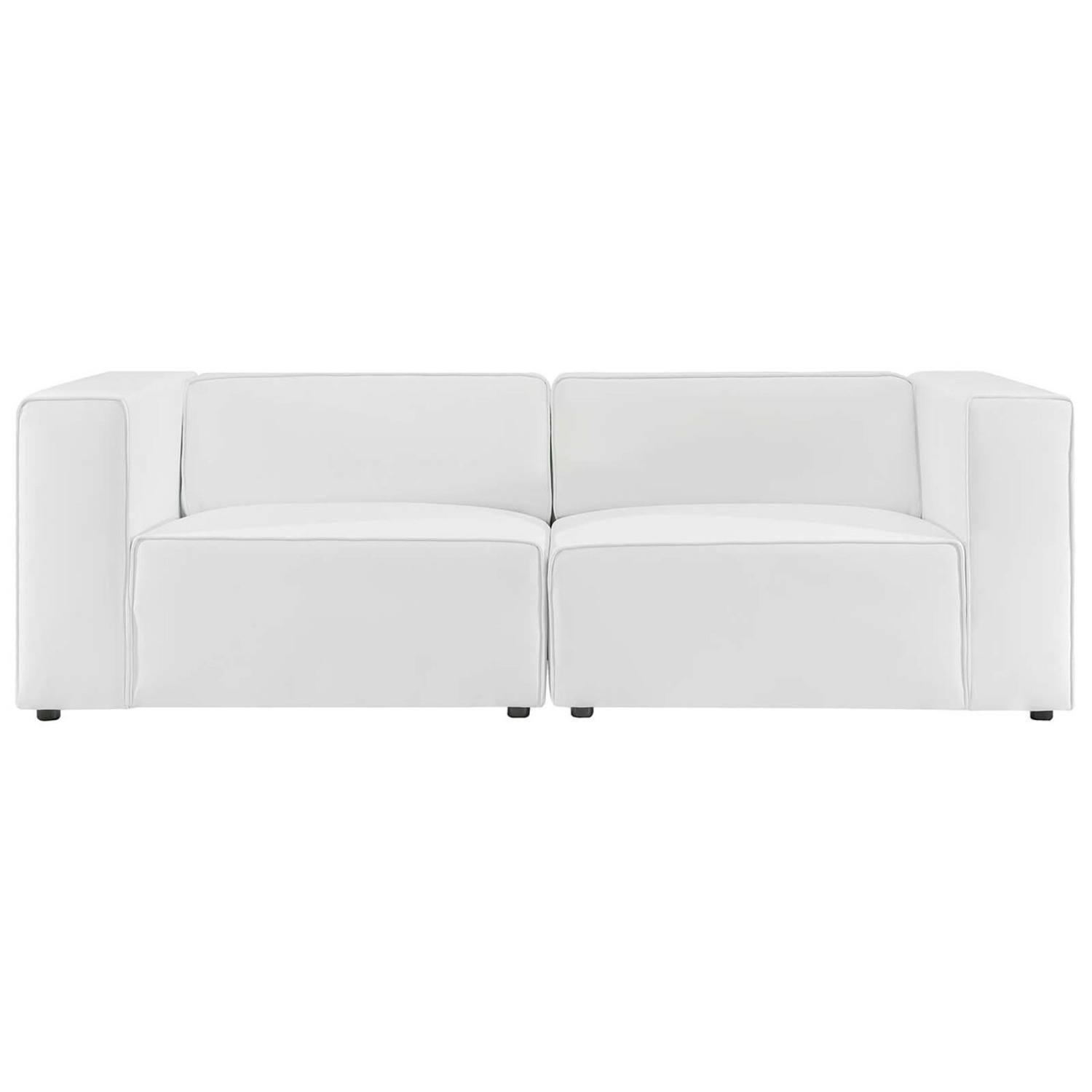 2-Piece Sectional Sofa In White Leather Finish - image-1