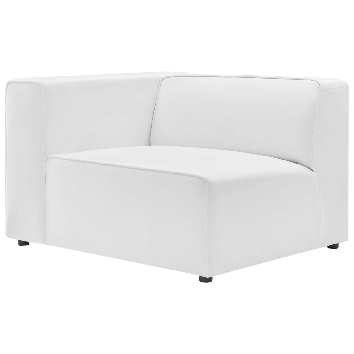 2-Piece Sectional Sofa In White Leather Finish - image-2