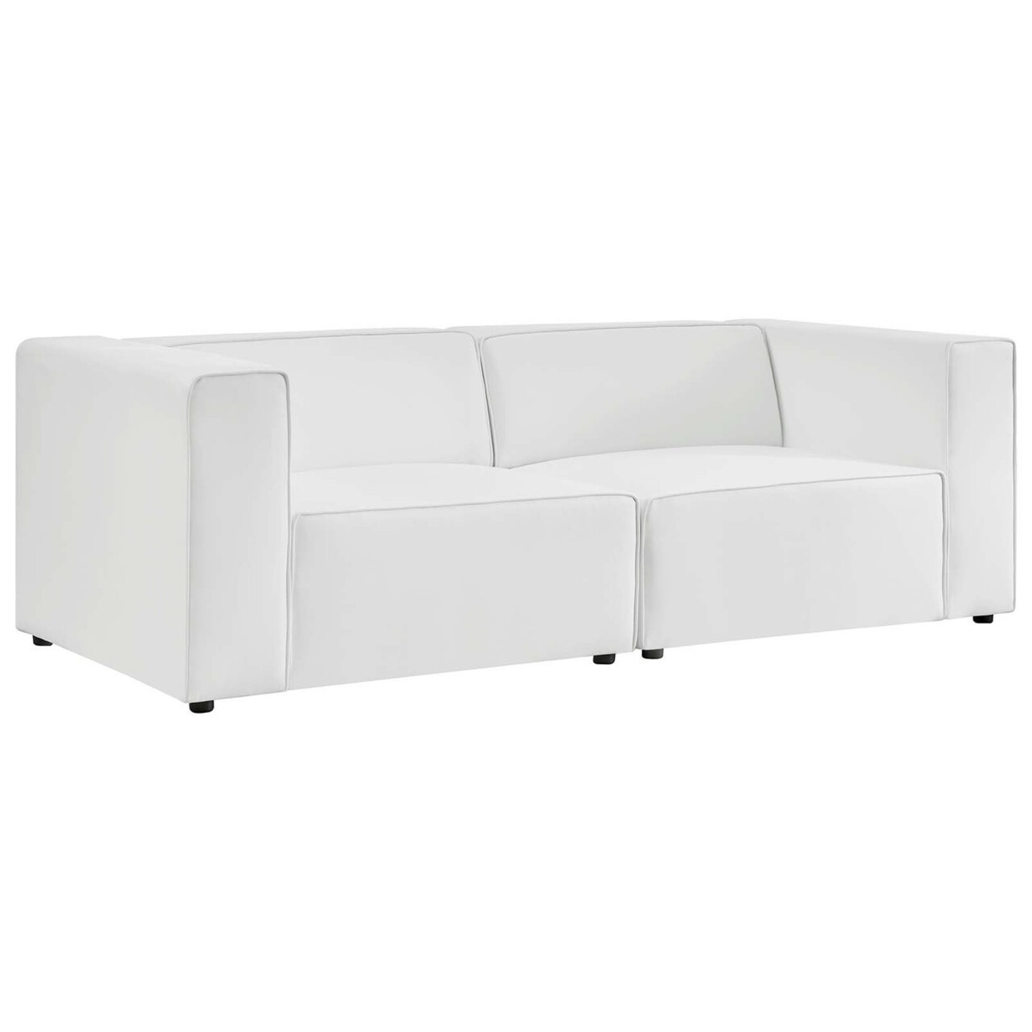 2-Piece Sectional Sofa In White Leather Finish - image-0