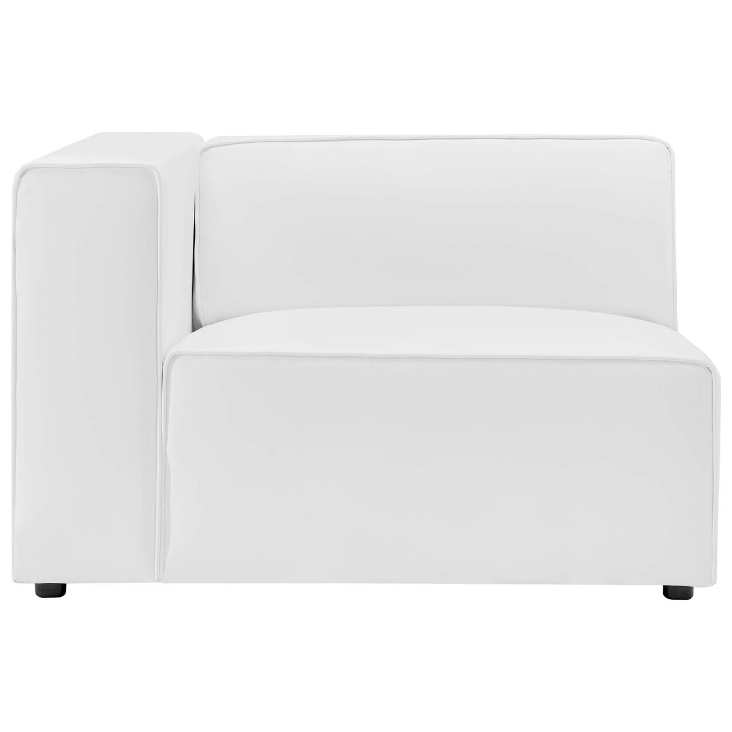 2-Piece Sectional Sofa In White Leather Finish - image-4