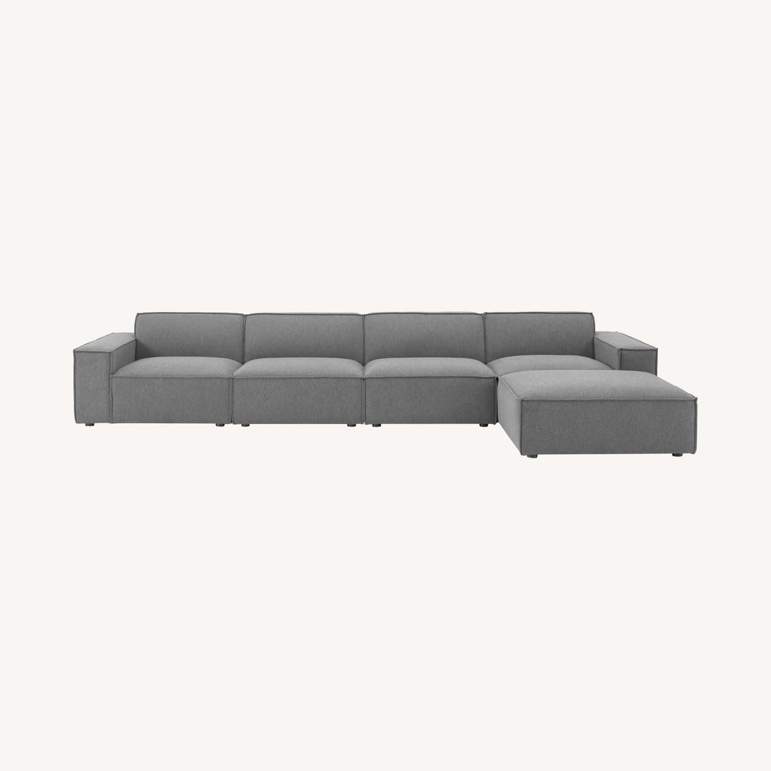 5-Piece Sectional Sofa In Charcoal Fabric - image-11