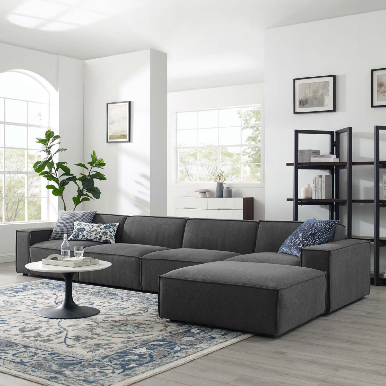 5-Piece Sectional Sofa In Charcoal Fabric - image-10