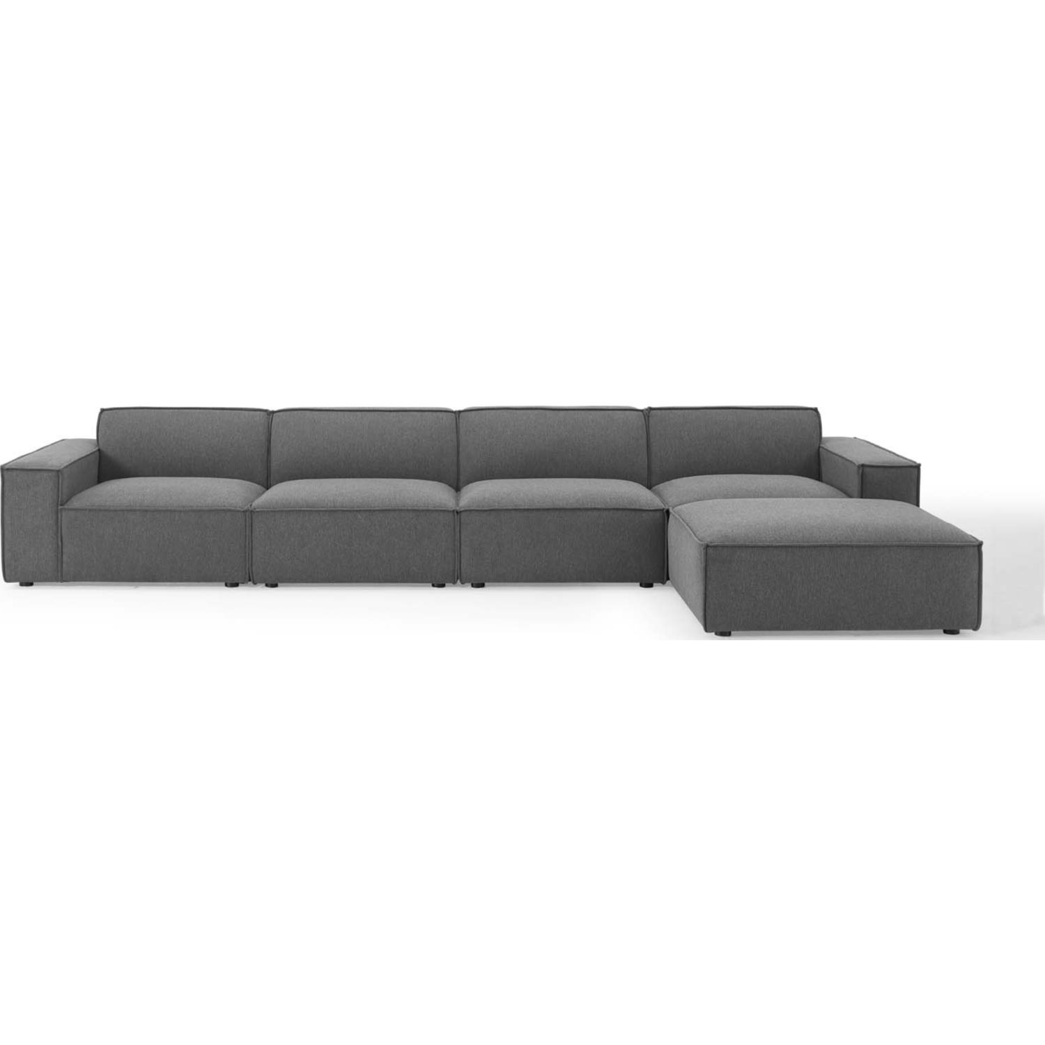 5-Piece Sectional Sofa In Charcoal Fabric - image-1