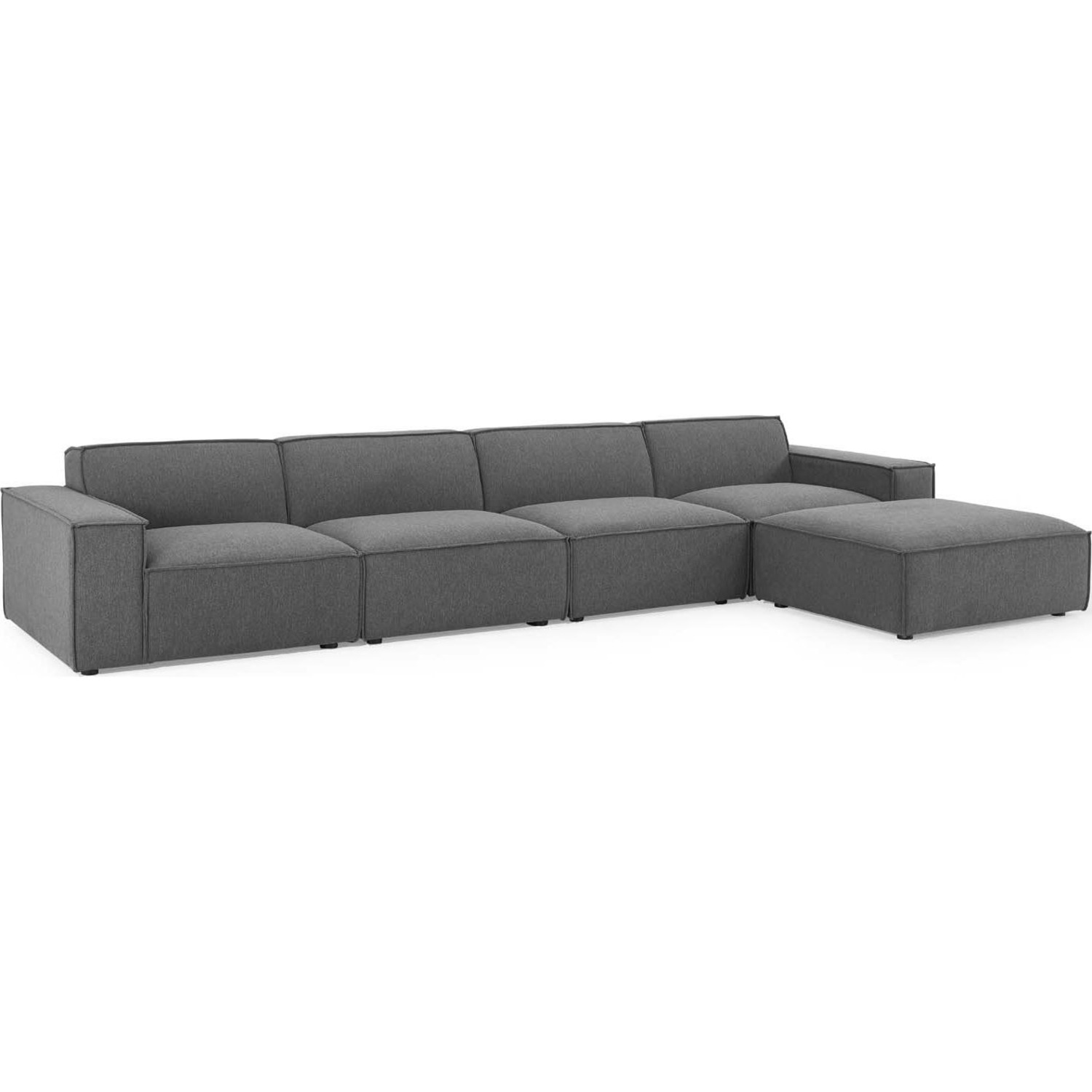 5-Piece Sectional Sofa In Charcoal Fabric - image-0