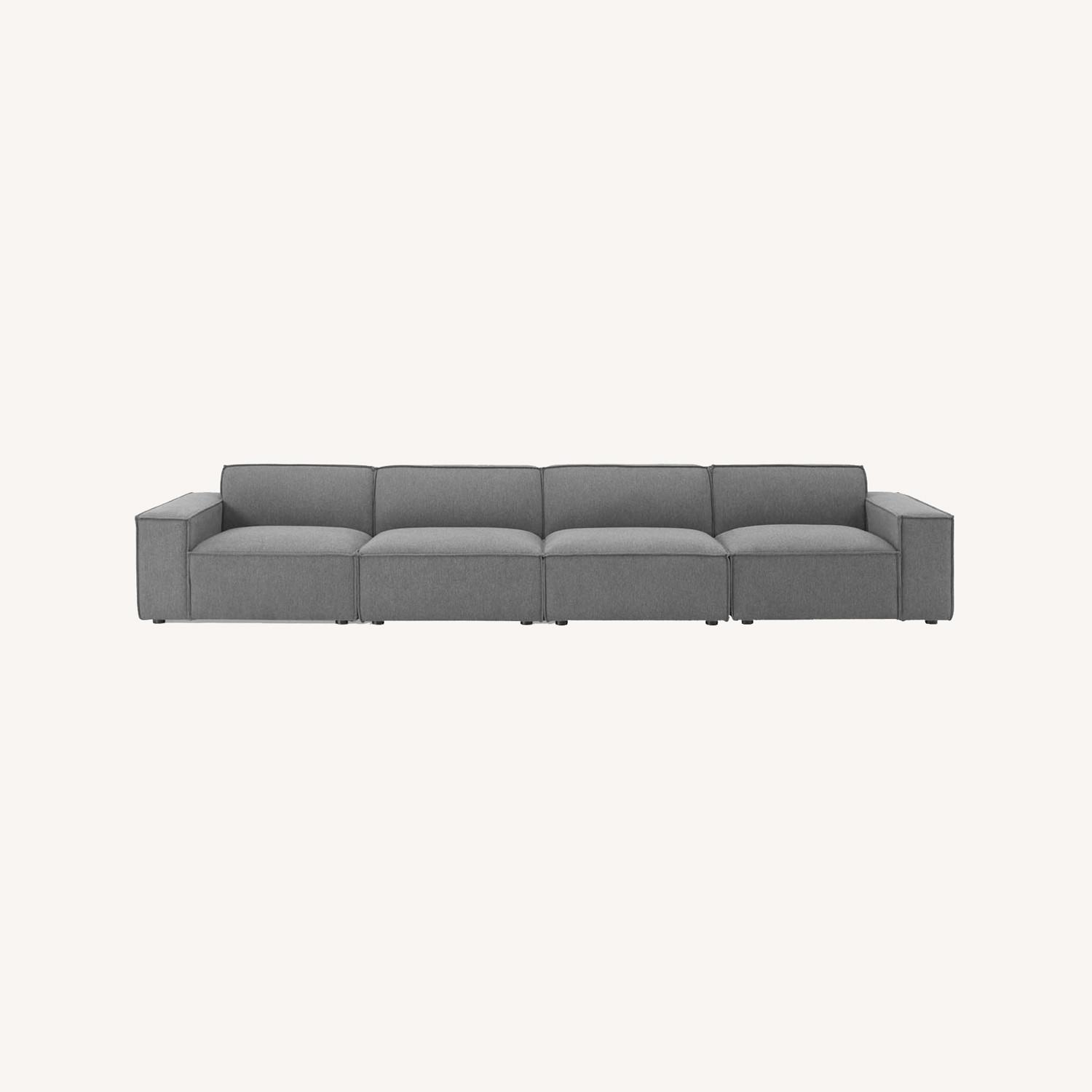 4-Piece Sectional Sofa In Charcoal Foam Padding - image-11