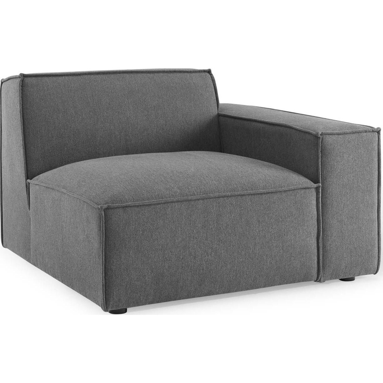 4-Piece Sectional Sofa In Charcoal Foam Padding - image-2