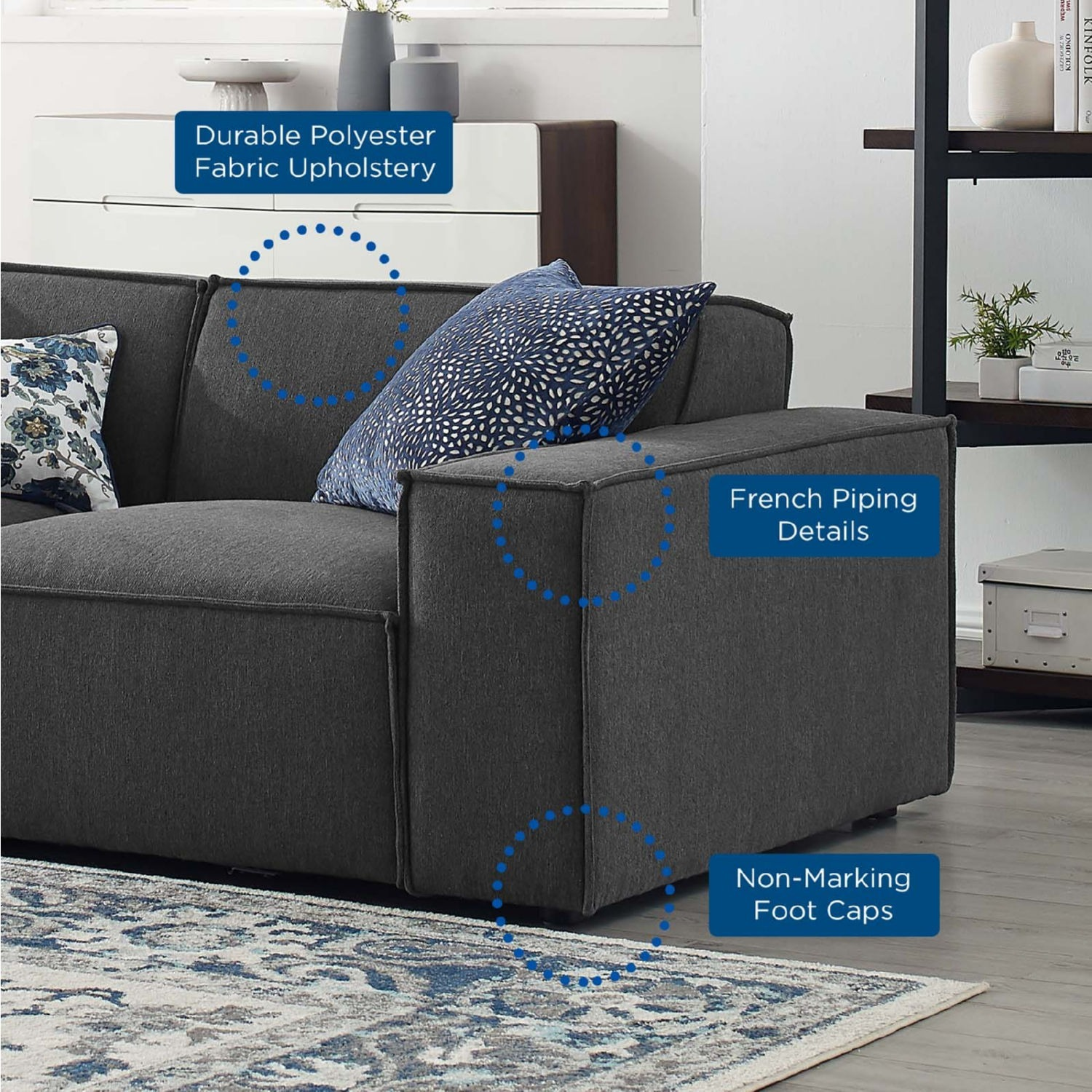 4-Piece Sectional Sofa In Charcoal Foam Padding - image-9