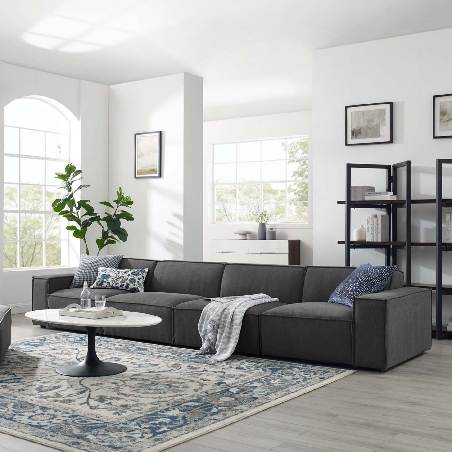 4-Piece Sectional Sofa In Charcoal Foam Padding - image-10