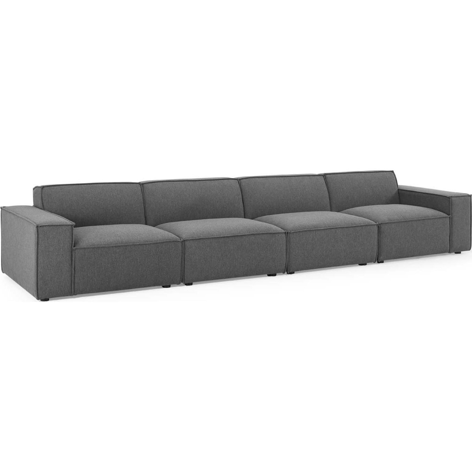4-Piece Sectional Sofa In Charcoal Foam Padding - image-0