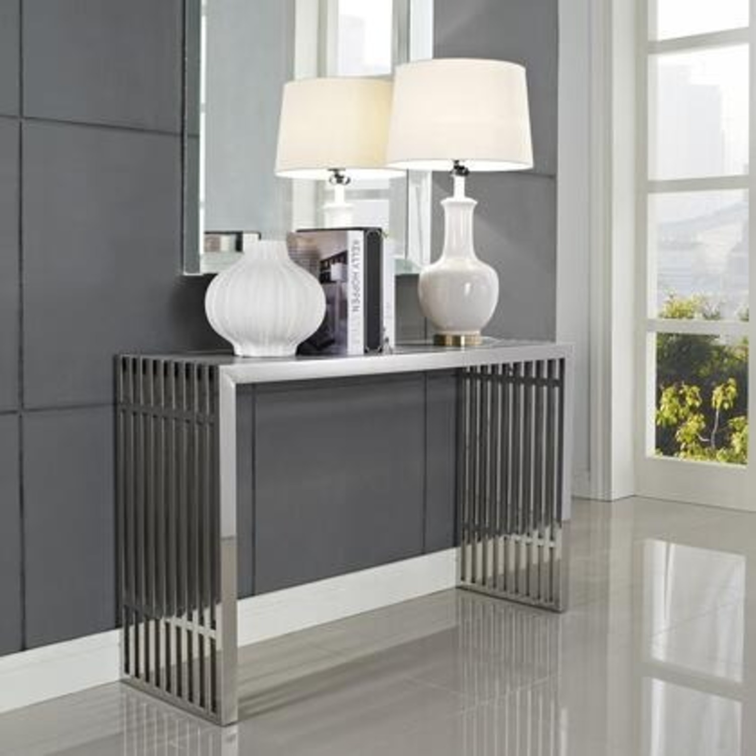 Modern Console Table In Silver Tubular Steel - image-3