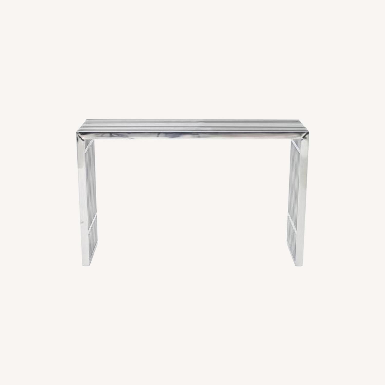 Modern Console Table In Silver Tubular Steel - image-5