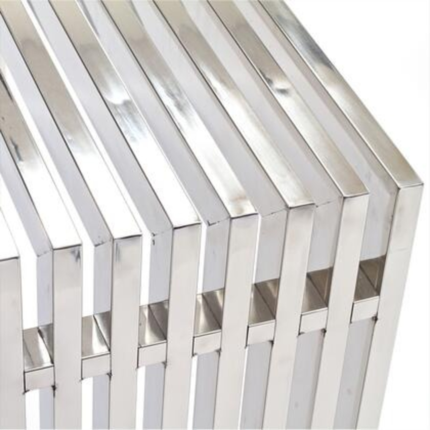 Modern Console Table In Silver Tubular Steel - image-1