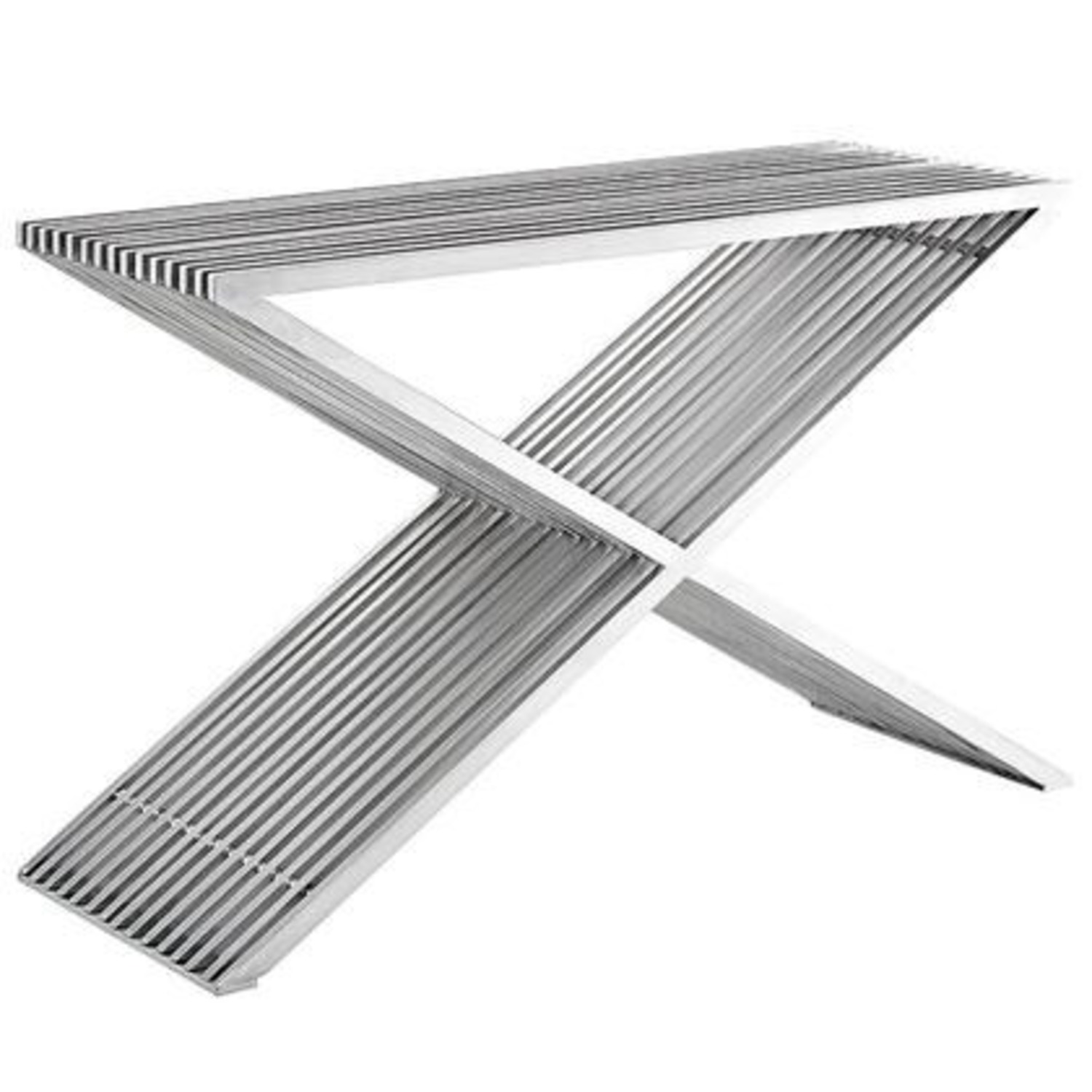 Console Table In Silver Brushed Aluminum Finish - image-1