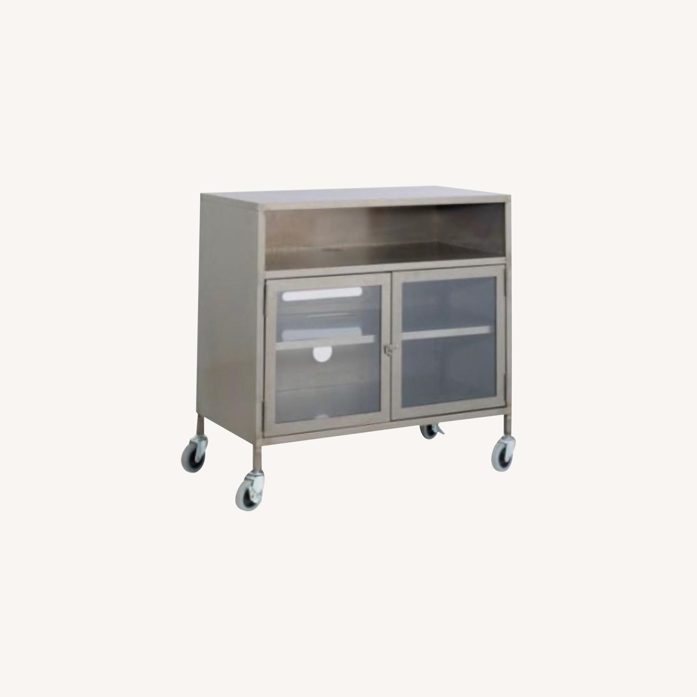 West Elm Industrial Tv Cart Raw Steel - image-0