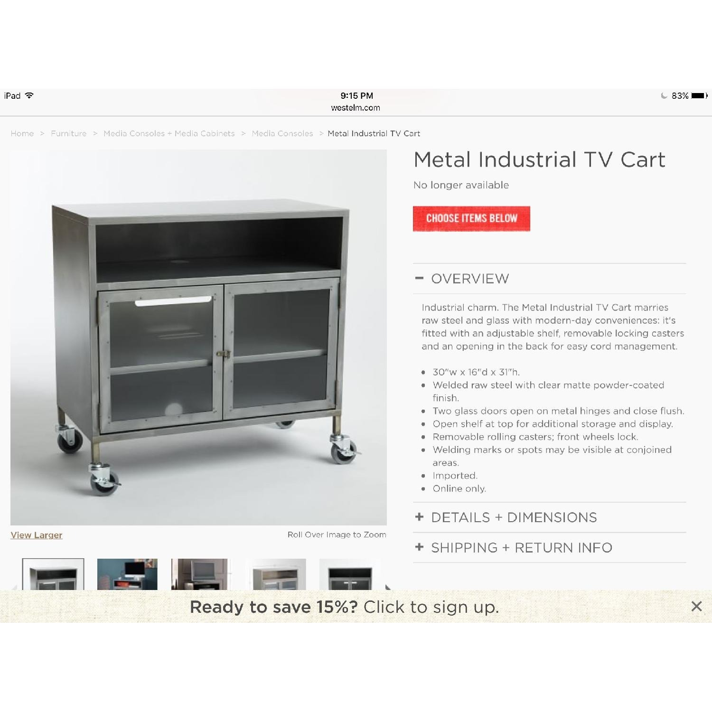 West Elm Industrial Tv Cart Raw Steel - image-3
