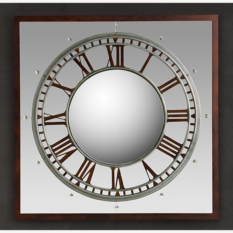 Restoration Hardware Convex Clock Mirror - image-0