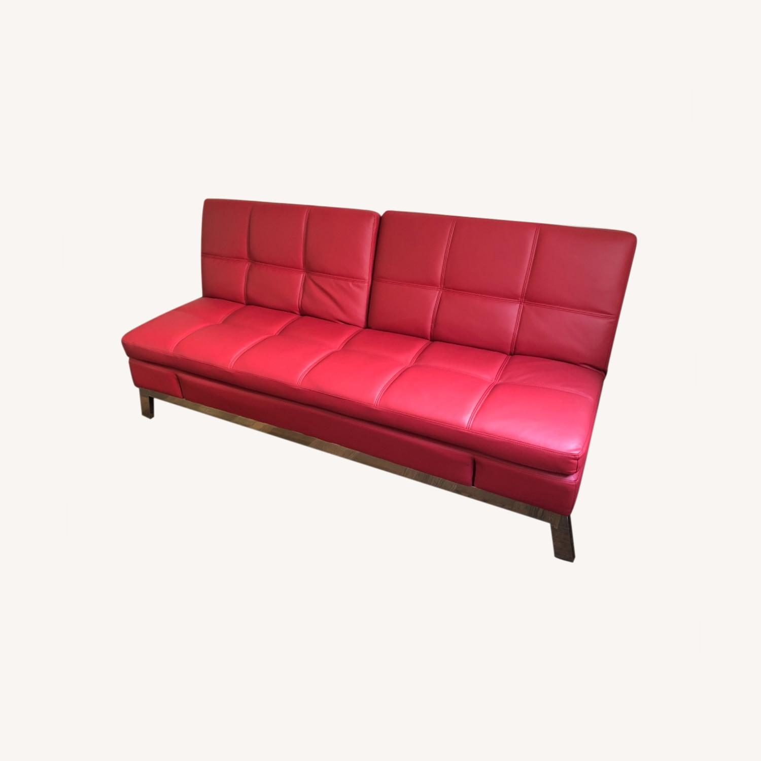 Coddle Red Leather Convertible Couch - image-0