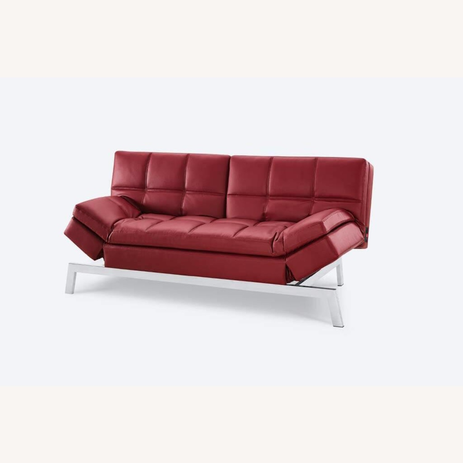 Coddle Red Leather Convertible Couch - image-5