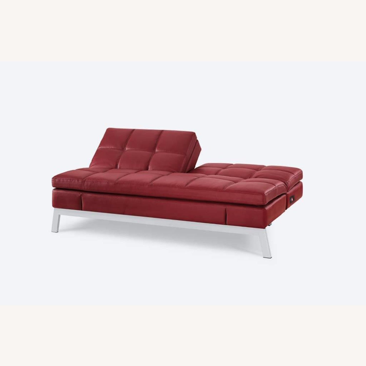 Coddle Red Leather Convertible Couch - image-6
