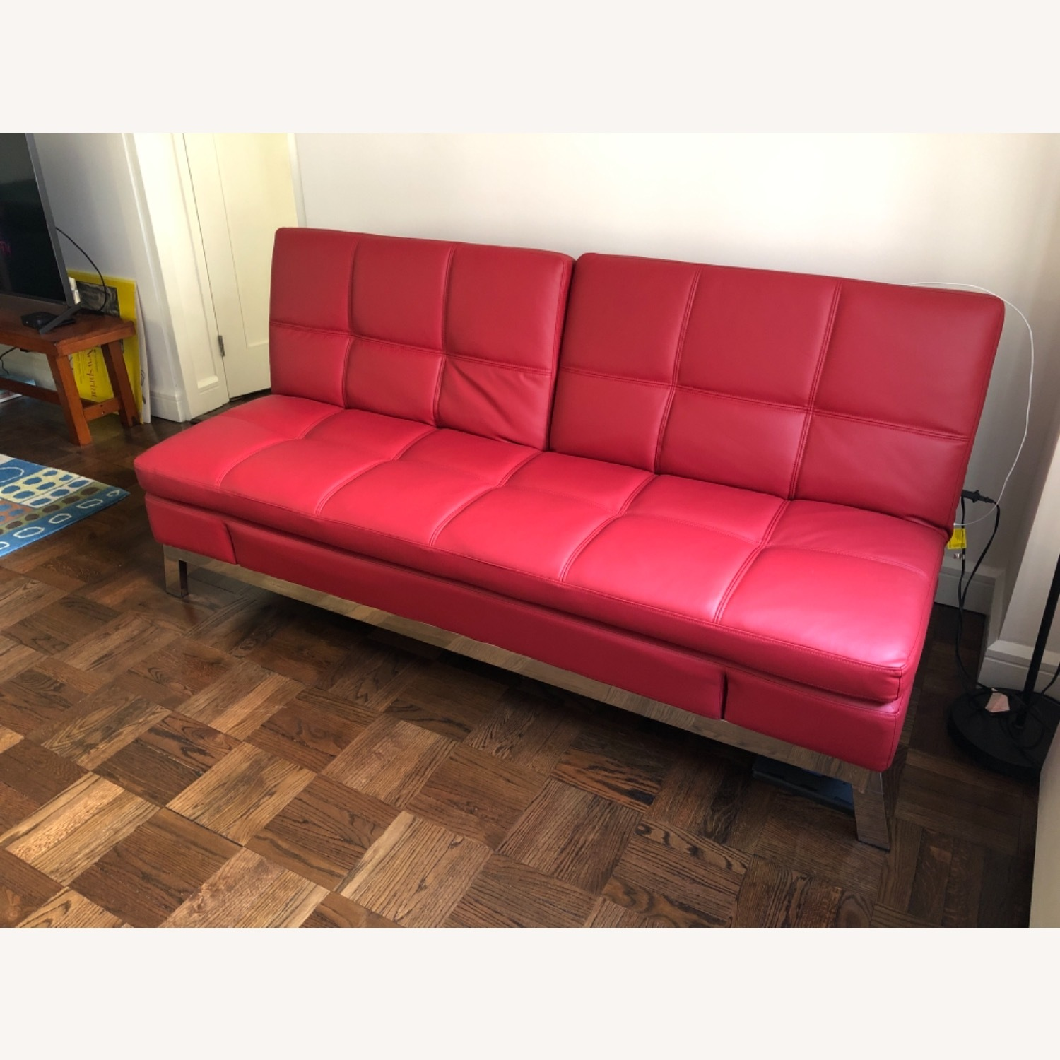 Coddle Red Leather Convertible Couch - image-1
