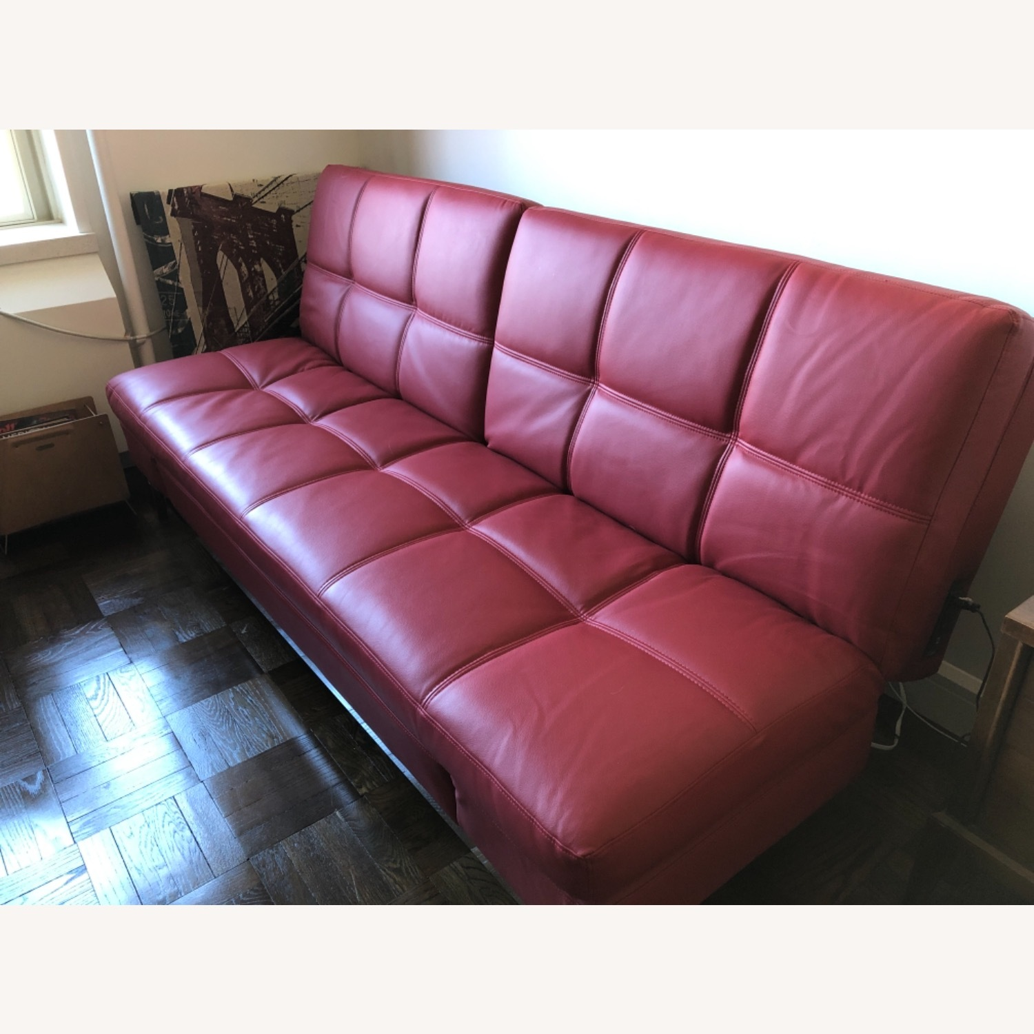 Coddle Red Leather Convertible Couch - image-2