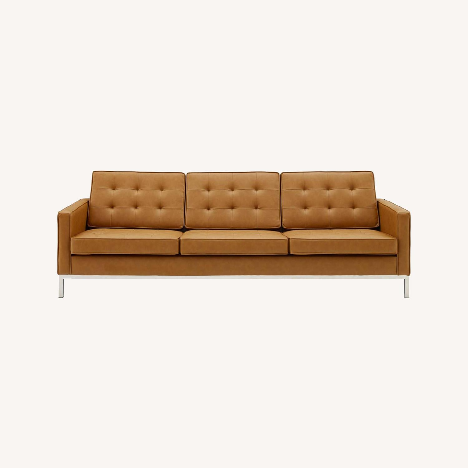 Modern Sofa In Tan Faux Leather Upholstery - image-6
