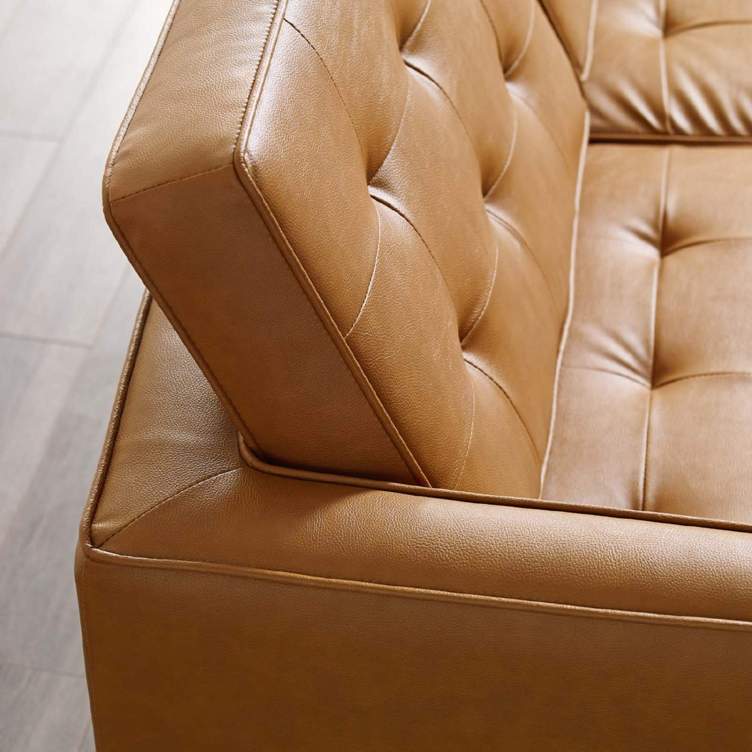 Modern Sofa In Tan Faux Leather Upholstery - image-3