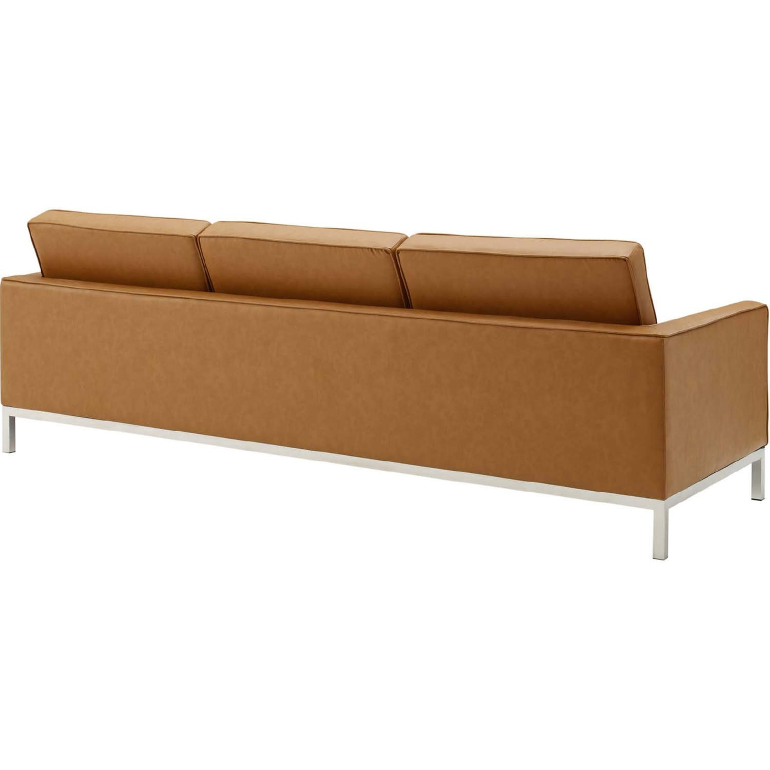 Modern Sofa In Tan Faux Leather Upholstery - image-2