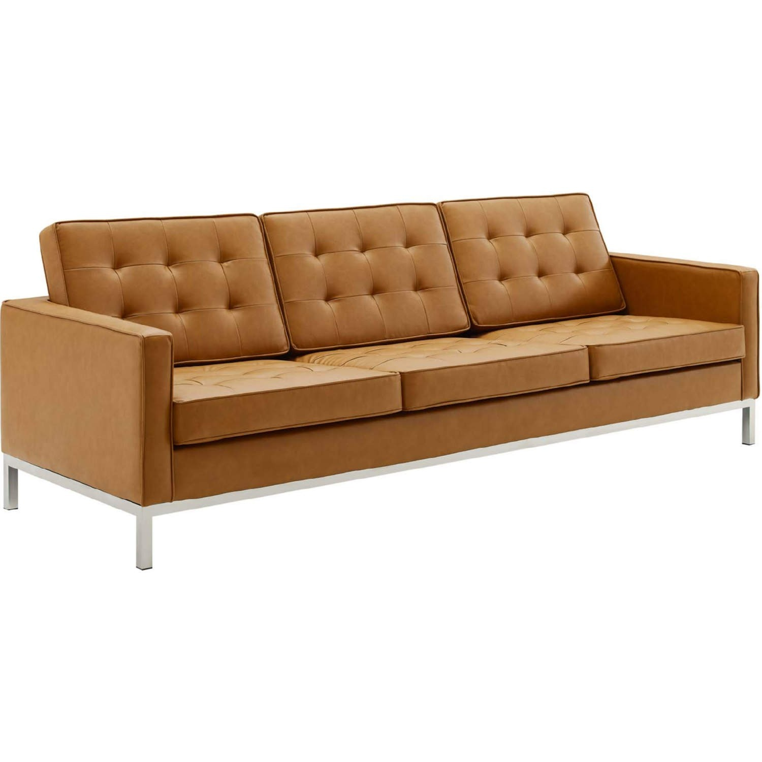 Modern Sofa In Tan Faux Leather Upholstery - image-1