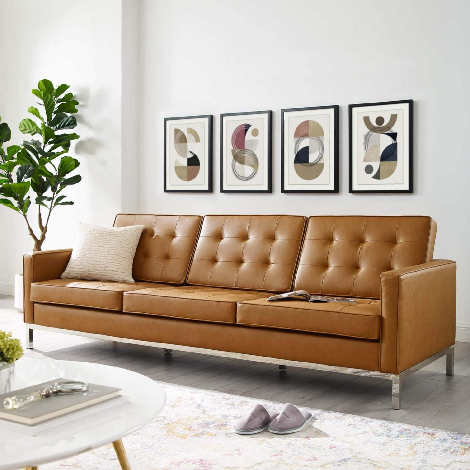 Modern Sofa In Tan Faux Leather Upholstery - image-4