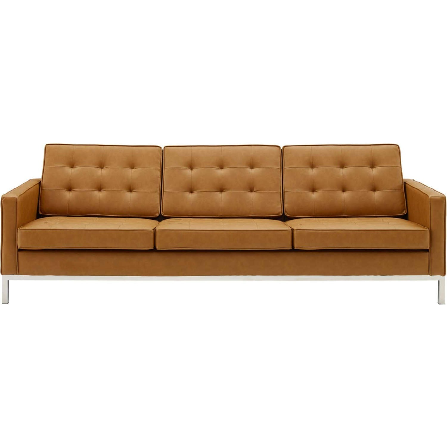 Modern Sofa In Tan Faux Leather Upholstery - image-0