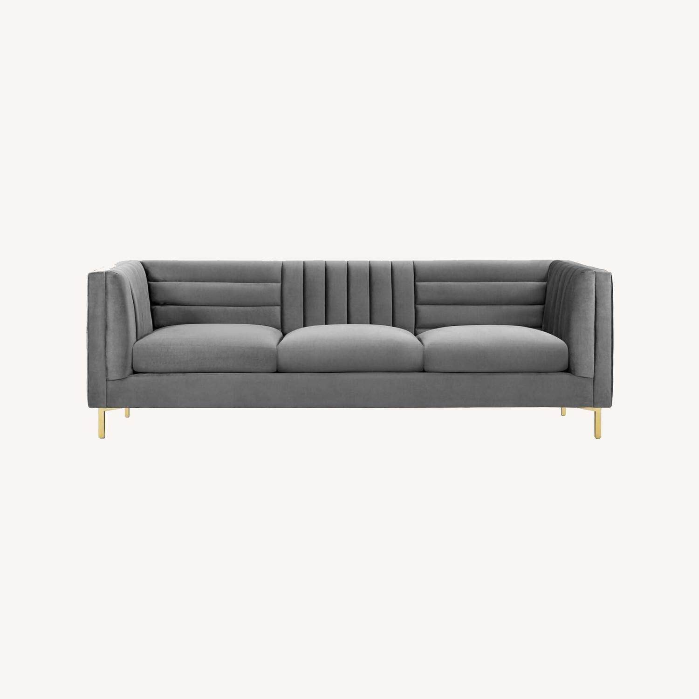 Modern Sofa In Gray Velvet W/ Channel Tufting - image-7