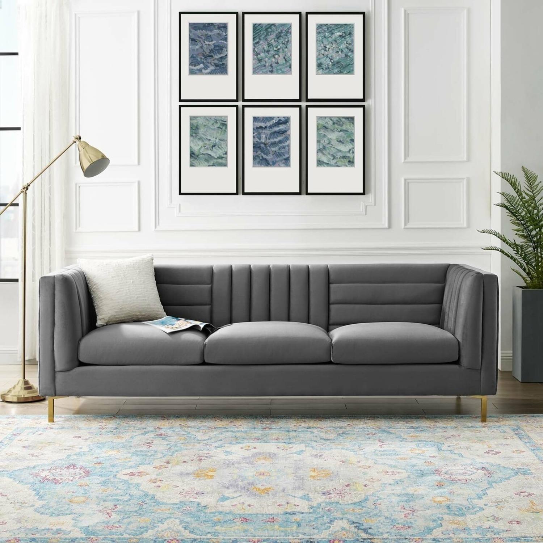 Modern Sofa In Gray Velvet W/ Channel Tufting - image-5
