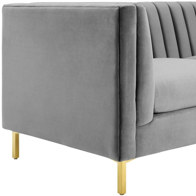 Modern Sofa In Gray Velvet W/ Channel Tufting - image-3