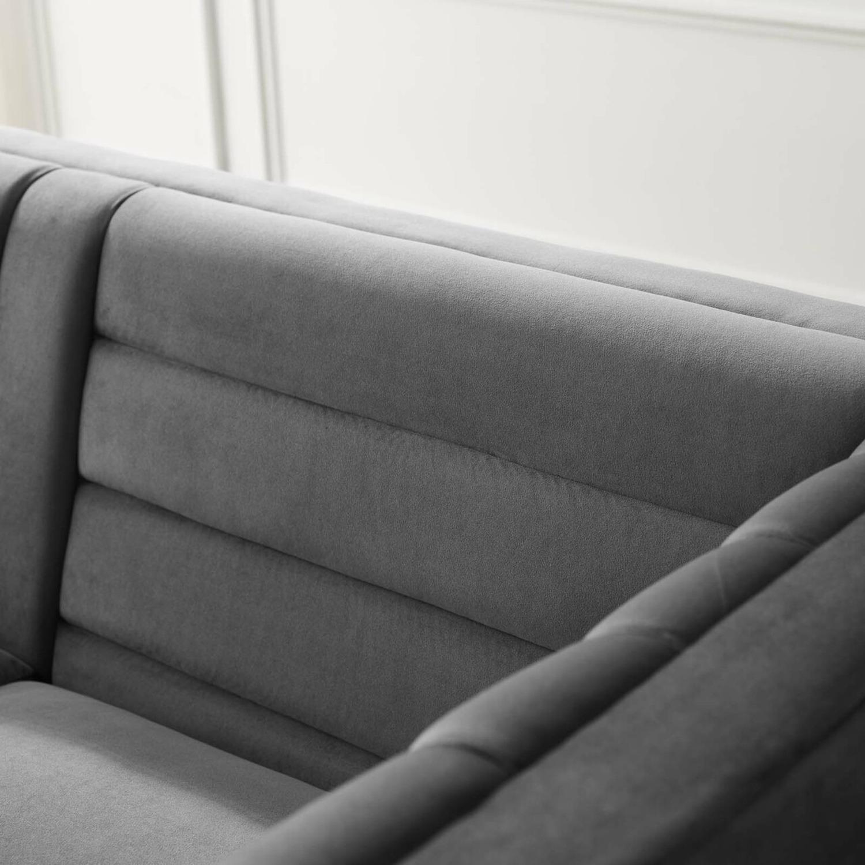 Modern Sofa In Gray Velvet W/ Channel Tufting - image-4