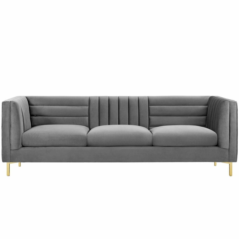 Modern Sofa In Gray Velvet W/ Channel Tufting - image-0